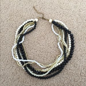 Black, White, and Gold Multi-strand Necklace